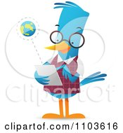 Clipart Smart Bluebird Using A Tablet Computer Royalty Free Vector Illustration