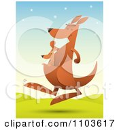 Clipart Baby Kangaroo Riding In Its Mothers Pouch As She Hops In A Hilly Landscape Royalty Free Vector Illustration