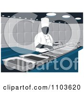 Clipart Catering Chef Behind A Counter With Different Dishes Royalty Free Vector Illustration by David Rey