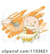 Clipart Baby Trying To Avoid Eating Greens In A High Chair Royalty Free Vector Illustration