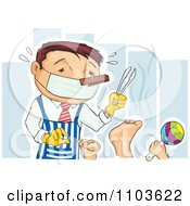 Clipart Father Ready To Change Diapers With A Nose Plug Mask Apron And Tongs Royalty Free Vector Illustration