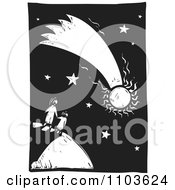 Mother And Child Watching A Comet In The Night Sky Black And White Woodcut
