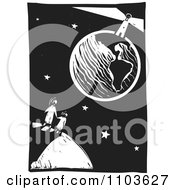 Mother And Child Watching A Lighthouse On Earth Black And White Woodcut