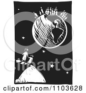 Mother And Child Watching Other People On Earth Black And White Woodcut