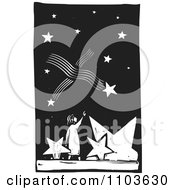 Girl Pointing Up At Shooting Stars In The Night Sky Black And White Woodcut