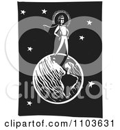 Clipart Super Hero Standing On Earth Against A Night Sky Black And White Woodcut Royalty Free Vector Illustration