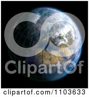 Clipart 3d Globe Featuring Europe With A Grid On Black Royalty Free CGI Illustration