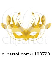 Clipart Gold Mardi Gras Mask With Leaves Royalty Free Vector Illustration