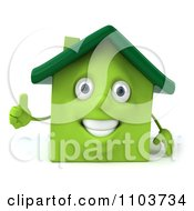 Clipart 3d Green Clay Home Holding A Thumb Up Royalty Free CGI Illustration