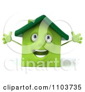 Clipart 3d Happy Green Clay Home Royalty Free CGI Illustration by Julos