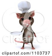 Clipart 3d Chef Mouse Holding A Plate 1 Royalty Free CGI Illustration