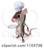 Clipart 3d Chef Mouse Holding A Plate 2 Royalty Free CGI Illustration