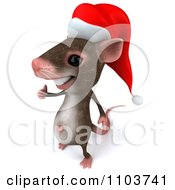 3d Christmas Mouse Holding A Thumb Up And Facing Left