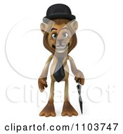 Clipart 3d Lion Character Englishman With A Cane 1 Royalty Free CGI Illustration