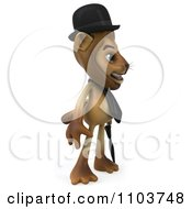 Clipart 3d Lion Character Englishman With A Cane 2 Royalty Free CGI Illustration