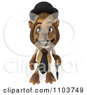 Clipart 3d Lion Character Englishman With A Cane 3 Royalty Free CGI Illustration