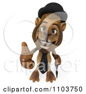 Clipart 3d Lion Character Englishman Holding A Thumb Up Royalty Free CGI Illustration