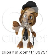 Clipart 3d Lion Character Englishman Holding A Thumb Down Royalty Free CGI Illustration