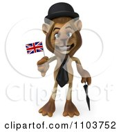 Clipart 3d Lion Character Englishman With A British Flag Royalty Free CGI Illustration