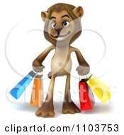 Clipart 3d Lion Character With Shopping Bags Royalty Free CGI Illustration