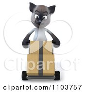 3d Siamese Cat Pushing Moving Boxes On A Dolly