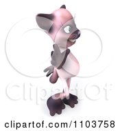 3d Female Siamese Cat Waving 1
