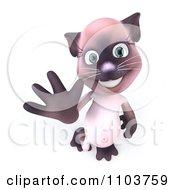 3d Female Siamese Cat Waving 2