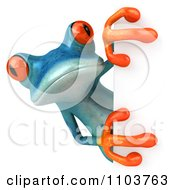 Clipart 3d Turqoise Springer Frog With A Sign 1 Royalty Free CGI Illustration by Julos