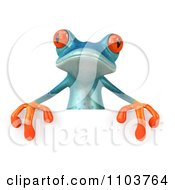 Clipart 3d Turqoise Springer Frog With A Sign 2 Royalty Free CGI Illustration