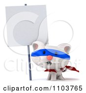 Clipart 3d Super White Kitten By A Sign 1 Royalty Free CGI Illustration