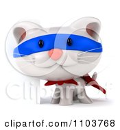 Clipart 3d Super White Kitten By A Sign 2 Royalty Free CGI Illustration