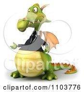 Clipart 3d Green Business Dragon Talking Royalty Free CGI Illustration