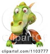 Clipart 3d Green Business Dragon Over A Sign Royalty Free CGI Illustration