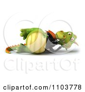 Clipart 3d Green Business Dragon Reclined Royalty Free CGI Illustration
