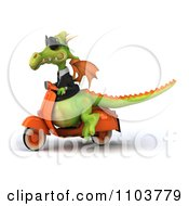 Clipart 3d Green Business Dragon On A Scooter 2 Royalty Free CGI Illustration