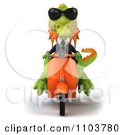 Clipart 3d Green Business Dragon On A Scooter 1 Royalty Free CGI Illustration by Julos