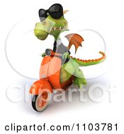 Clipart 3d Green Business Dragon On A Scooter 3 Royalty Free CGI Illustration