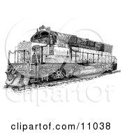 Ink Dot Design Of A Train On Tracks Clipart Illustration