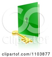 Clipart 3d Gold Skeleton Key And Green Book With A Hole Royalty Free Vector Illustration by AtStockIllustration