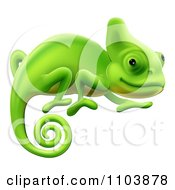 Clipart Happy Green Chameleon Lizard Royalty Free Vector Illustration by AtStockIllustration