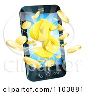 Clipart 3d Gold Coins And Dollar Symbol Bursting From A Smart Phone Royalty Free Vector Illustration