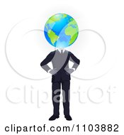 Businessman With His Hands On His Hips And A Globe Head
