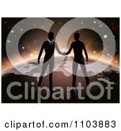 Poster, Art Print Of Silhouetted Businessmen Shaking Hands On Earth
