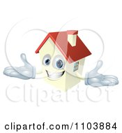 Happy House Mascot With A Red Roof
