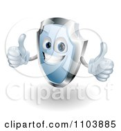 Clipart Shiny 3d Blue Shield Mascot Holding Two Thumbs Up Royalty Free Vector Illustration