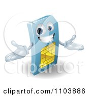 Clipart 3d Happy Blue SIM Card Mascot Royalty Free Vector Illustration
