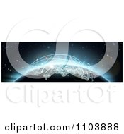 Clipart 3d Globe With Blue Glowing Flight Plans Royalty Free Vector Illustration
