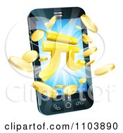 Clipart 3d Gold Coins And Yuan Symbol Bursting From A Smart Phone Royalty Free Vector Illustration by AtStockIllustration