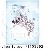 Clipart Blue Background With Purple Butterflies Vines And A Grungy Circle Frame On Halftone Royalty Free Vector Illustration