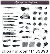 Clipart Black Grungy Ink And Halftone Design Elements Royalty Free Vector Illustration
